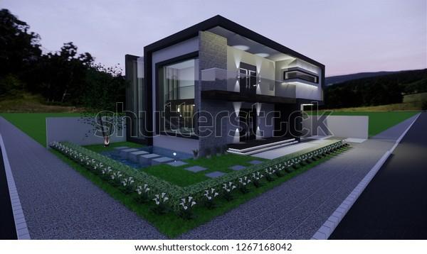 Contemporary Exterior Design Modern Corner House Stock Illustration 1267168042