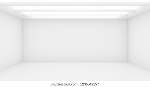 Contemporary future concept background. Empty futuristic clean white box interior room With Light. 3D Rendering