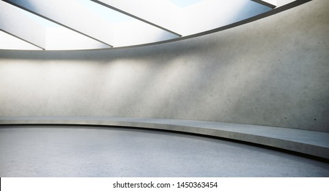 Contemporary and futuristic empty interior with natural light on concret wall and reflections on the floor. Concept of interior design and architecture. 3d rendering.