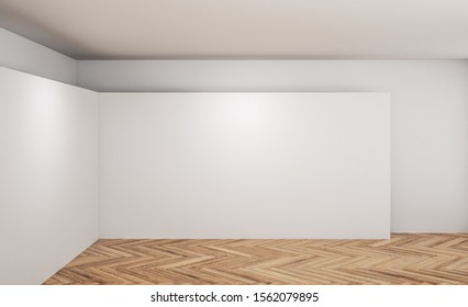 Contemporary gallery interior with empty white poster and wooden floor. Mock up, 3D Rendering