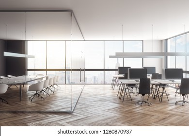 Contemporary glass office interior with panoramic city view, furniture and daylight. 3D Rendering