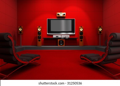 A contemporary home theater room. Furnished with modern furniture and electronics. Digitally created and high resolution rendered.