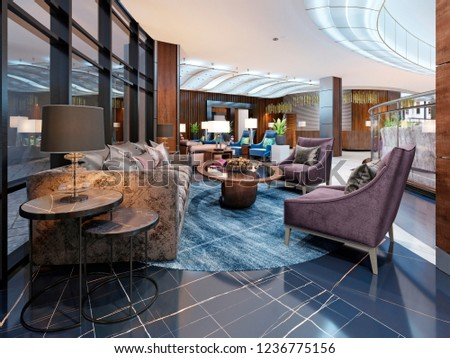 Contemporary Hotel Interior Design Hotel Lobby Stock Illustration