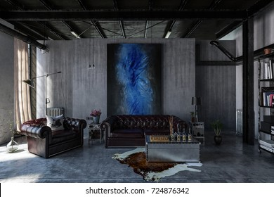 A contemporary, industrial polished concrete living room interior with leather lounges and modern art hanging. 3d Rendering