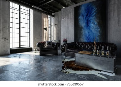 A contemporary, industrial polished concrete living room interior with leather lounges and bright, tall windows. 3d Rendering