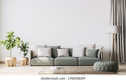 contemporary interior design for living room mock up with green couch, wooden pots and floor lamp, template, 3D render, 3D illustration
