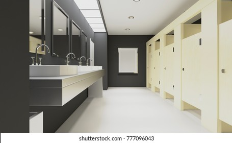 Contemporary interior of public toilet. 3D rendering. Empty picture