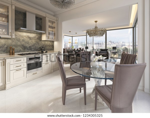 Contemporary Kitchen Elements Classic Dining Table Stock ...