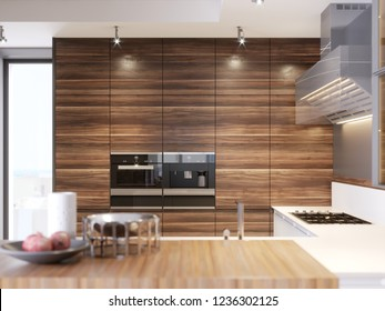 Contemporary kitchen in modern style. Luxury apartment downtown. Breakfast zone in comfortable brand new apartment. 3d rendering