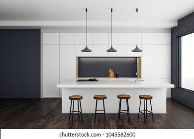 Contemporary kitchen studio interior with furniture and daylight. 3D Rendering