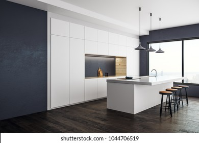 Contemporary kitchen studio interior with panoramic New York city view and daylight. 3D Rendering
