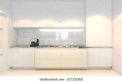 Contemporary kitchen trend. White furniture with ecru decoration. Front view. Using of white color. 3D render