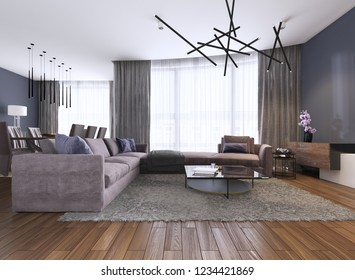 Contemporary large living room in a new apartment with a large sofa and dining area. 3d rendering.