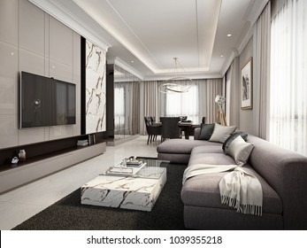 Contemporary living room and dining area, 3D render