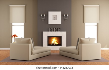 Contemporary living room with fireplace ant two long chair - 3d rendering