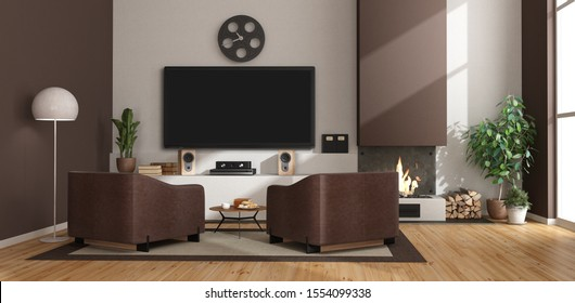 Contemporary living room with fireplace, leather armchairs and tv set - 3d rendering