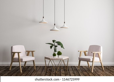 Contemporary living room interior with furniture, decorative plant, lamps, concrete wall and wooden floor. 3D Rendering