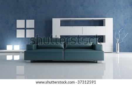 Contemporary Living Room With Navy Blue Couch And White Empty Bookshelf