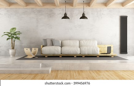 Contemporary living room with pallet sofa on cement platform - 3D Rendering