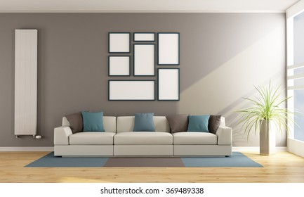 Contemporary living room with sofa, vertical radiator and blank frame on wall - 3D Rendering