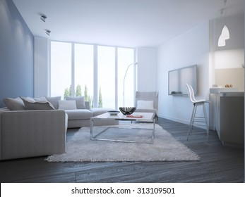 Contemporary living room studio. 3D render