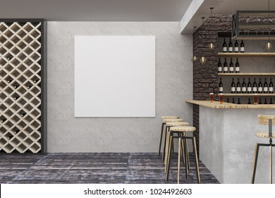 Contemporary loft bar or pub interior with clean banner on wall. Alcohol and leisure concept. Mock up, 3D Rendering