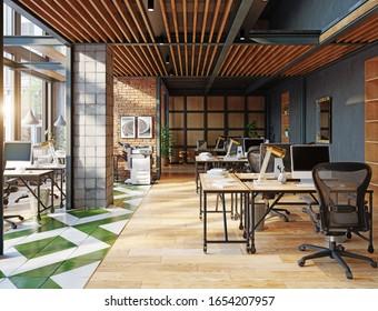 zeitgenössisches Loft-Büro-Interieur. 3D-Design-Konzept