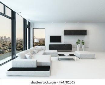 Contemporary luxury living room interior with black and white decor, a modular lounge suite and large windows overlooking a city with a door to an outdoor patio, 3d rendering