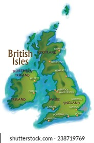 A contemporary map of the British Isles with named major cities.