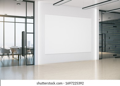 Contemporary meeting office with blank banner on wall, table and chairs. Workplace and lifestyle concept. 3D Rendering