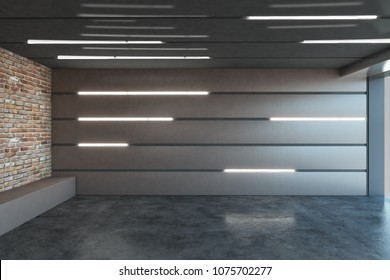 Contemporary metal garage interior with illuminated walls. 3D Rendering