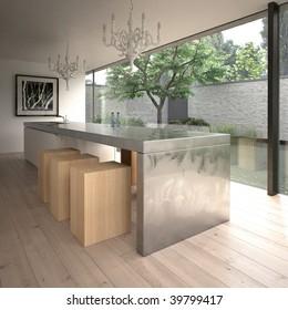 Contemporary minimalist kitchen in modern house (3D render)