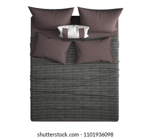 Contemporary modern double bed with pillows, top view, isolated on white background, gray and red interior design, 3d illustration