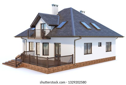 Contemporary modern house on a white background 3d illustration