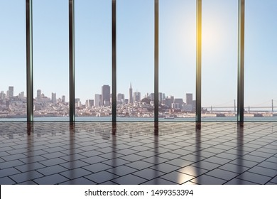 Contemporary modern office hall with stylish floor, glass walls and city view at background at sunrise. 3D Rendering