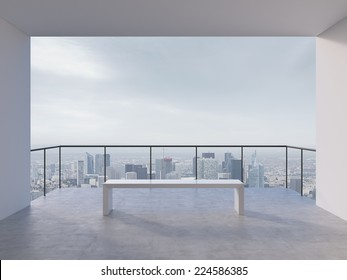 Contemporary office hall. City view.