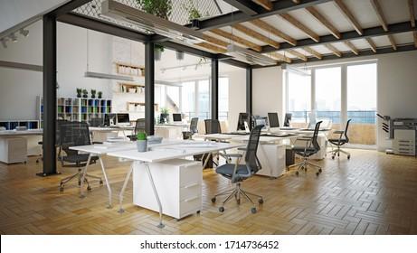 zeitgenössisches Bürodesign. 3D-Design-Konzept