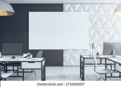 Contemporary office interior with daylight and empty white poster. Workplace and design concept. 3D Rendering