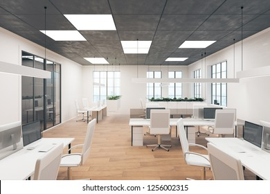 Contemporary office interior with furniture. Style, design and workplace concept. 3D Rendering