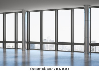 Contemporary office interior with panoramic window, new york city view and daylight. 3D Rendering