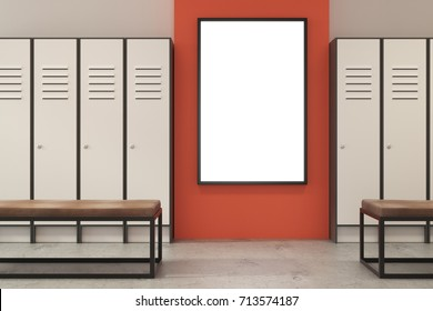 Contemporary orange locker room interior with bench and empty poster. Advertising concept. Mock up, 3D Rendering