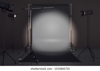 Contemporary photo studio with professional lighting equipment and black background. Photgraphy concept. Mock up, 3D Rendering