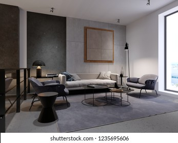 Contemporary recreation area with sofa, armchair and magazine table and decor. Decorative concrete wall. Interior design in the style of a loft. 3d rendering.