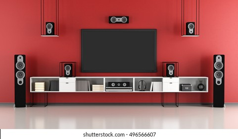 contemporary red and black home cinema system - 3d rendering