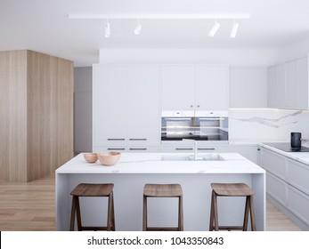 Contemporary style kitchen render.