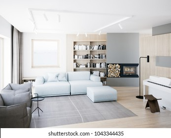 Contemporary style living room render.