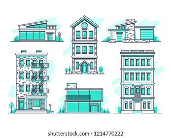 Contemporary urban and suburban houses line icons set. Real estate outline symbols