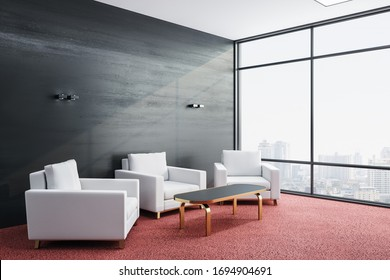 Contemporary waiting room with three chairs and city view. Workplace and lifestyle concept. 3D Rendering