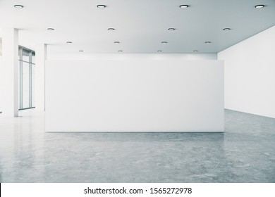 Contemporary white gallery interior with empty billboard, city view and daylight. Concrete floor. Mock up, 3D Rendering