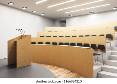 Contemporary wooden concrete auditorium interior with stage. University and conference concept. 3D Rendering